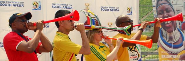 FIFA 2010 Football World Cup fans with vuvuzelas