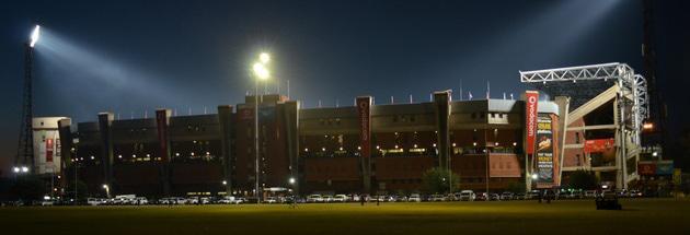 Loftus Versfeld at night from adjacent field during match.