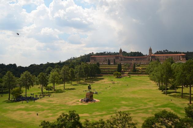 Union Buildings and grounds from a vantage point across the street.