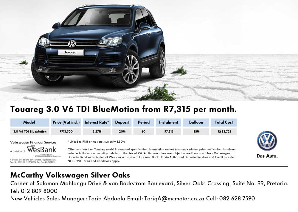 Touareg 3.0 V6 TDI BlueMotion from R 7, 3715 per month at VW Pretoria