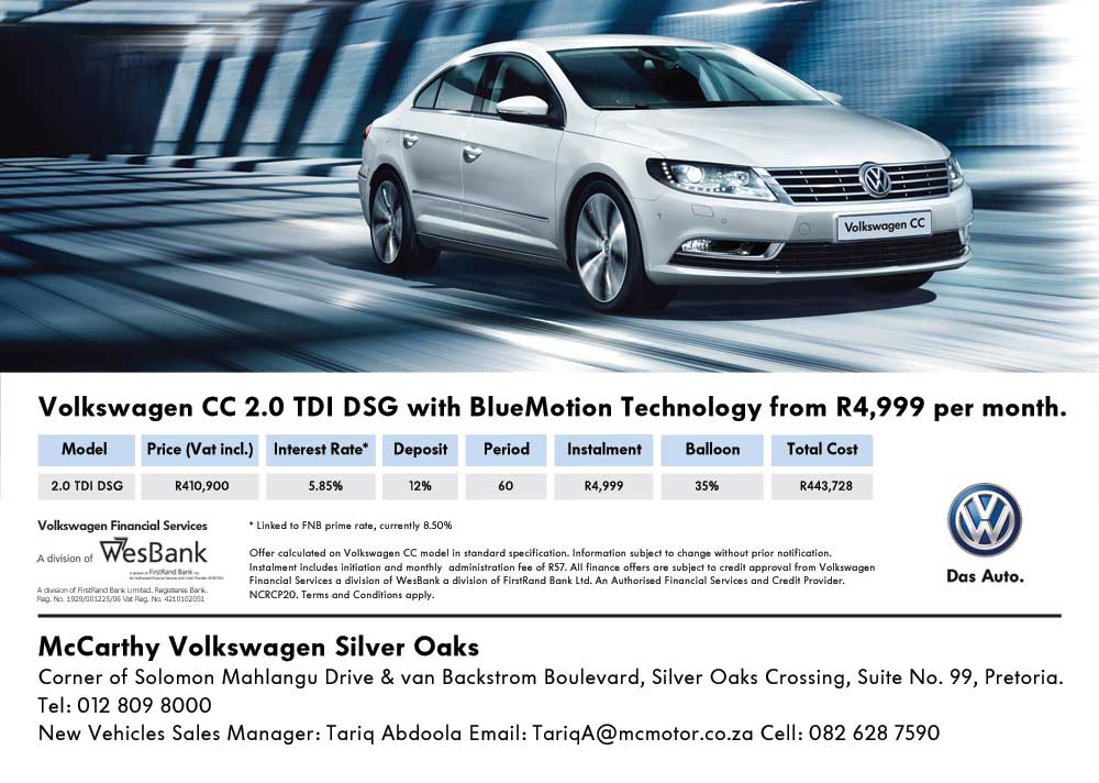 Volkswagen CC 2.0 TDI DSG with BlueMotion Technology from R 4,999 per month at VW Pretoria.