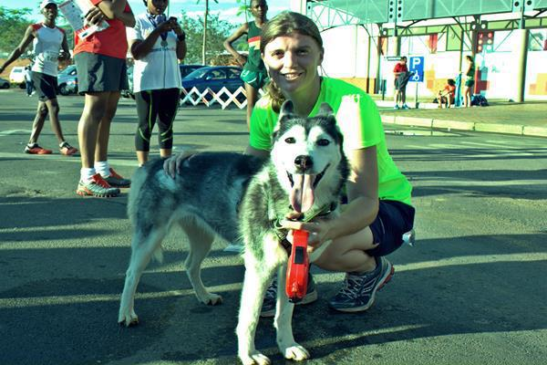 dog and runner
