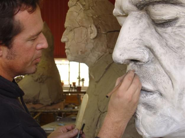 angus working on one of his sculptures.