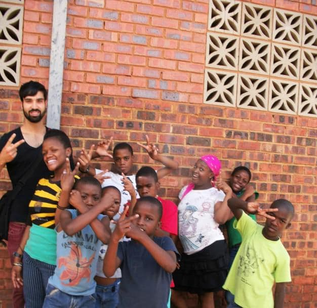 Berkan with the children at Mohau Centre