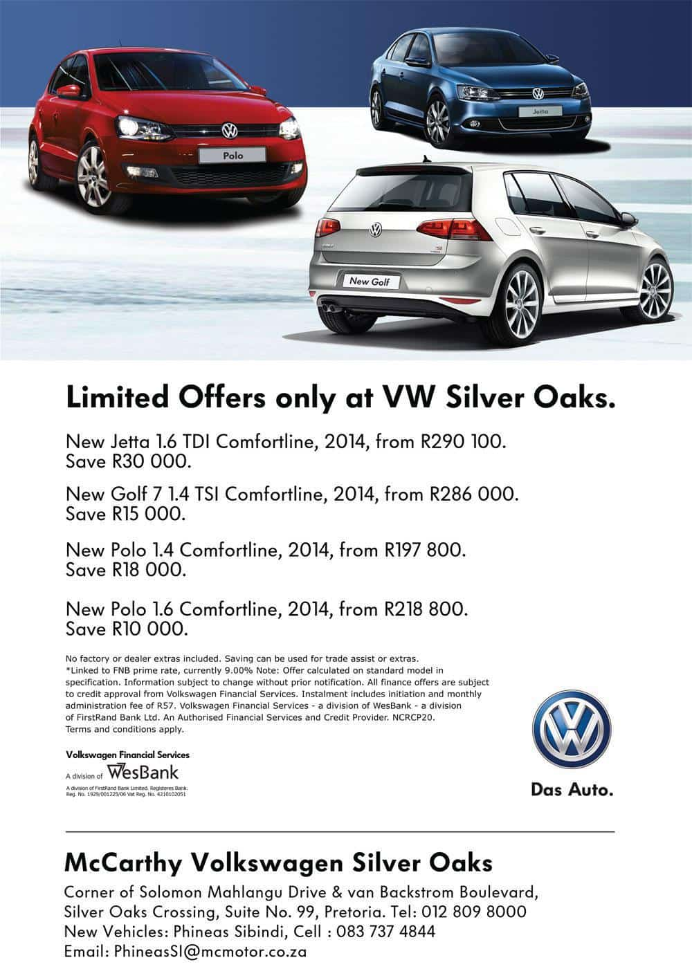 Limited offers at VW Silver Oaks, Pretoria