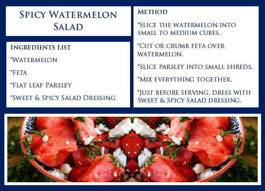 Blue Leaves Watermelon Salad