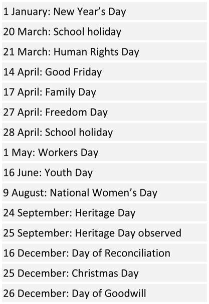 South African School Terms and Public Holidays 2017 | Pretoria  Public