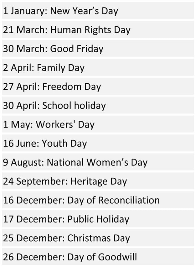 South African School Terms and Public Holidays 2018 | Pretoria