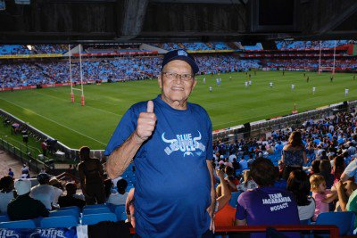 The 80 year old Nathan Liedeman from Malmesbury in the Western Cape was flown in by Jacaranda FM to watch his first Bulls game at Loftus Versfeld
