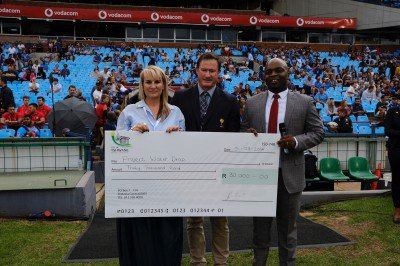 The City of Tshwane also contributed R30K. Dianne Broodryk from Jacaranda FM Willem Strauss President of the BBRU and Solly Msimanga Executive Mayor of Tshwane