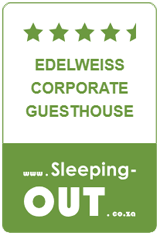 This rating is based on reviews supplied by guests that have booked through Sleeping-OUT and stayed at Edelweiss Corporate Guesthouse.