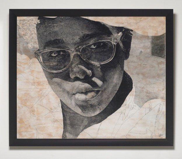 Luyanda Zindela - pen, ink and graphite work on pine-board titled Phowthah sis' Mgabadeli