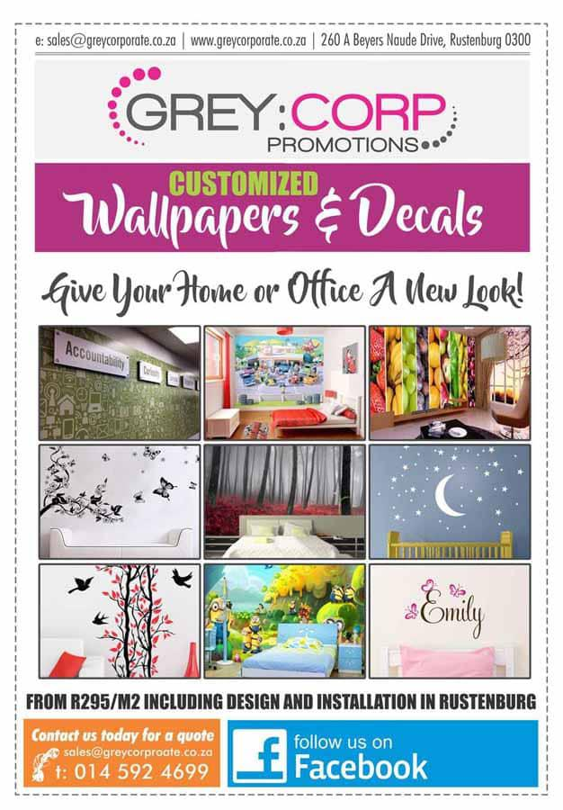 Customized wallpapers decals by grey corporate promotions rustenburg grey corp wall paper626 reheart Gallery