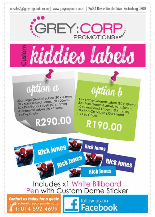 kiddies labels from Grey Corporate Promotions