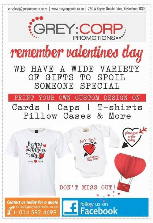 Valentines day 2018 gifts from grey corporate promotions rustenburg visit them for that special gift with your personal touch reheart Gallery