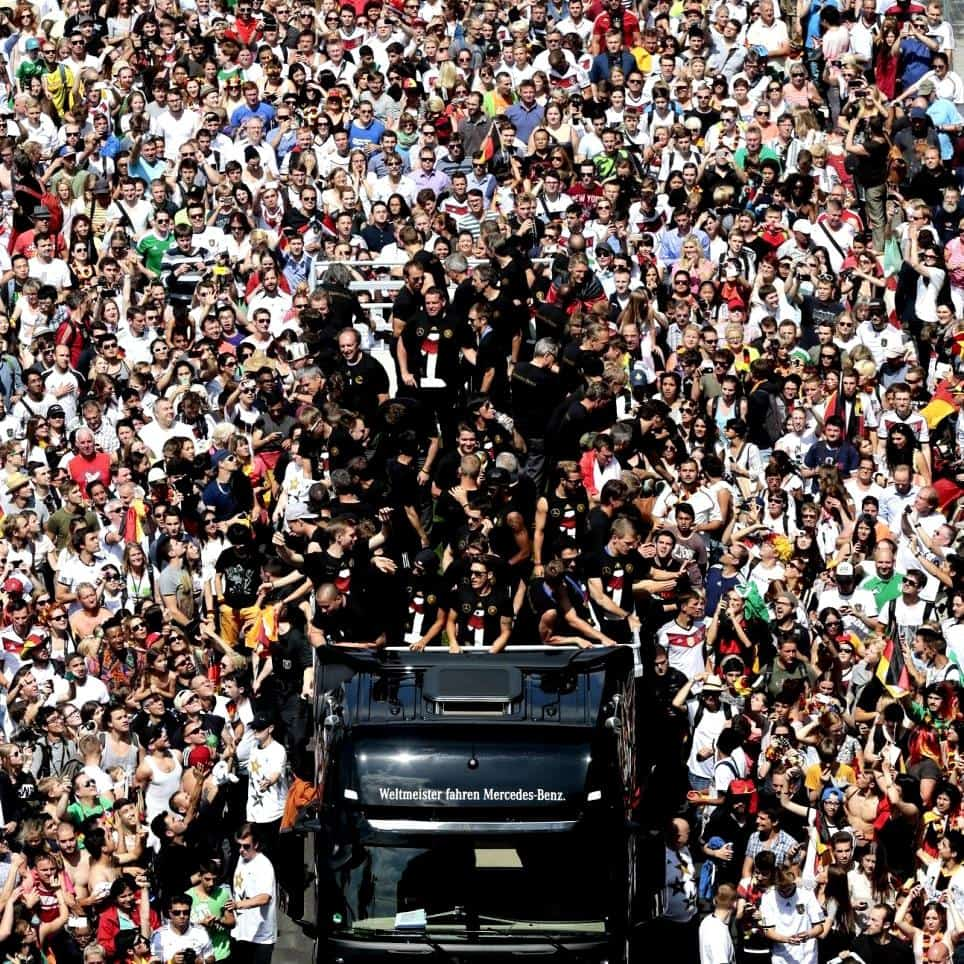 'Football's coming home!' 400,000 line the streets of Berlin