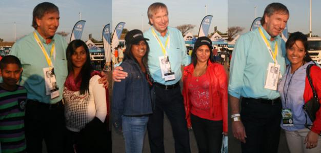 Derek Watts in top gear with fans in Durban