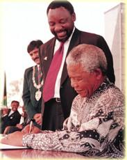 Nelson Mandela signed the South African Constitution