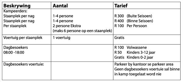 Booking Tariffs