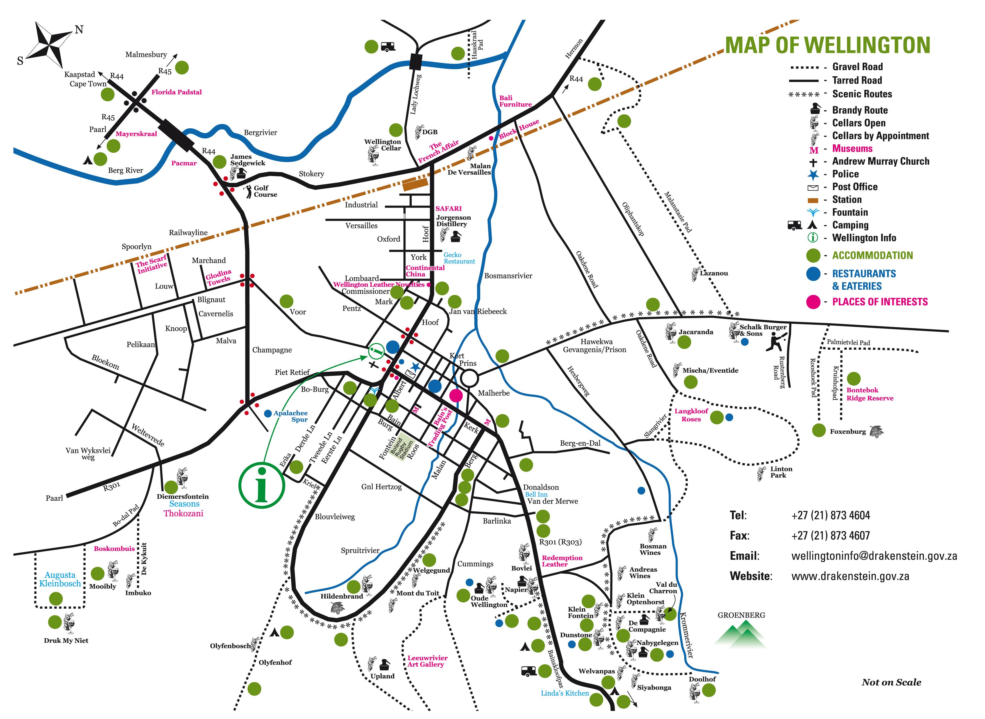 Wellington Map | Printable Maps of Wellington, Western Cape